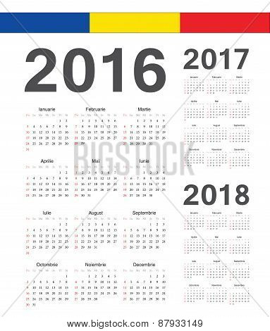 Set Of Romanian 2016, 2017, 2018 Year Vector Calendars