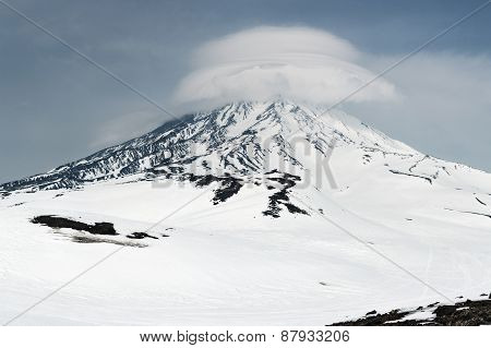 View Of Koryaksky Volcano - Active Volcano On Kamchatka At Winter