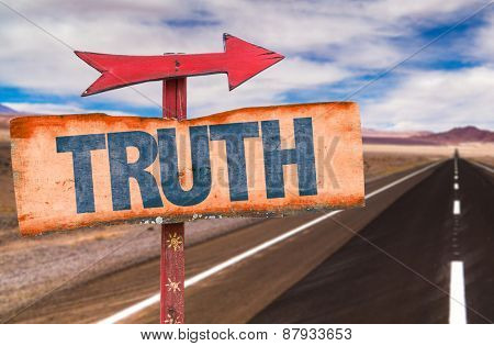 Truth sign with road background
