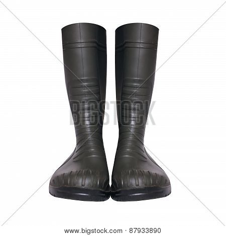 Rubber Boots Isolated On A White Background