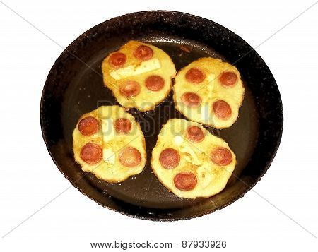 Potato Dough Sausages And Cheese On Old Pan.