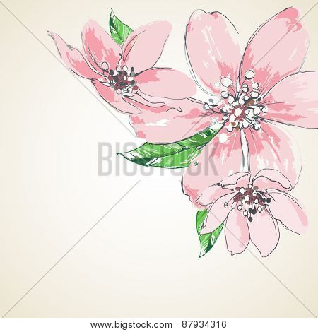 Pink flowers background, corner decoration