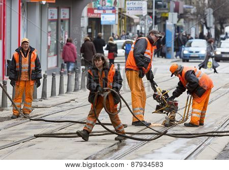 Tram Road Workers Repair Repairing