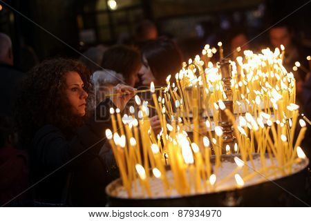 Church Candles Woman Lighting