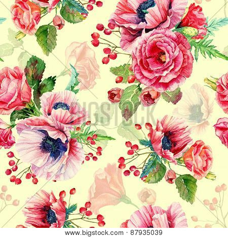 Seamless Pattern Of Watercolor Poppies And Roses.