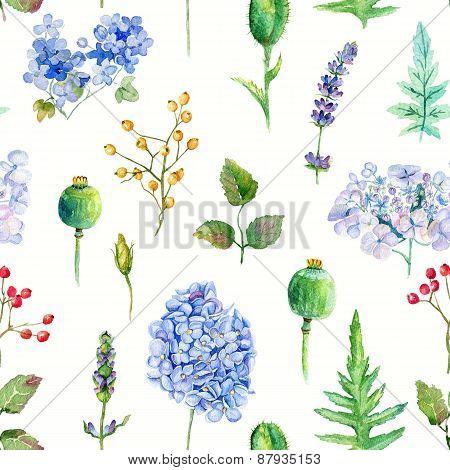 Seamless Pattern. Watercolor Hydrangea, Currant.