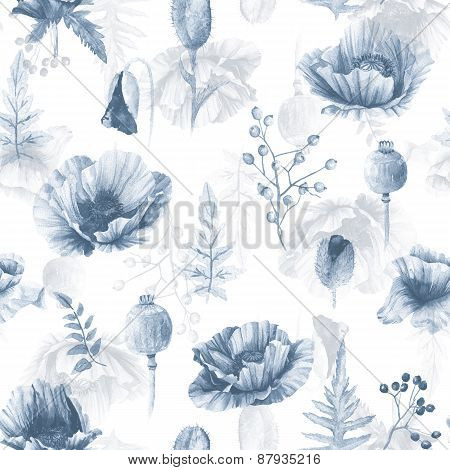 Seamless Pattern Of Watercolor Poppies.