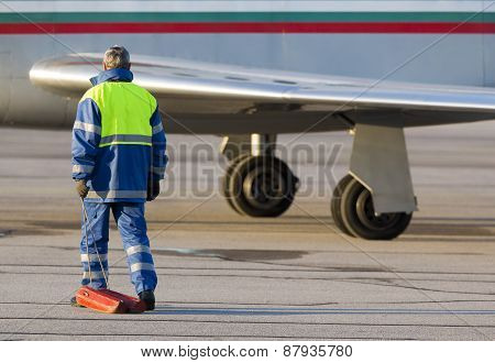 Airport Worker Runway Airplane