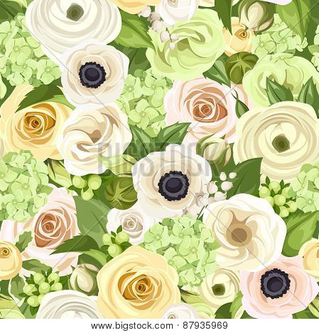 Seamless background with white, yellow and green flowers and leaves. Vector illustration.