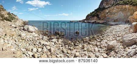Mediterranean Coastline Landscape Panoramic View In Alicante, Spain