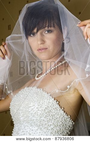 Young brunette bride posing with face covered by veil