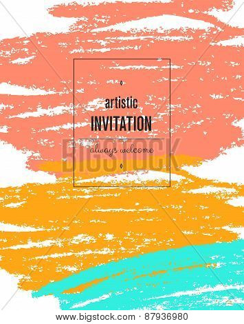 Invitation. Card with ink grunge texture. Vintage creative cards. Hand drawn textures made with Ink.