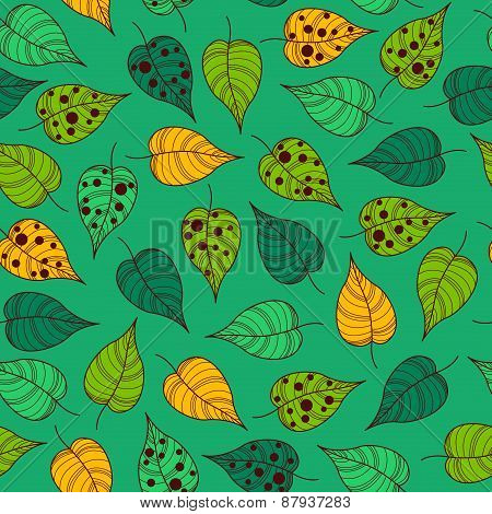 Seamless Leafy Wallpaper Tile