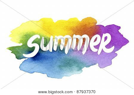 Summer holidays hand drawn lettering on a watercolor background