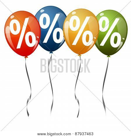 Colored Balloons With Percentage Signs