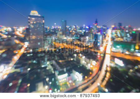 Aerial view of blur night street lights of the city, nightlife
