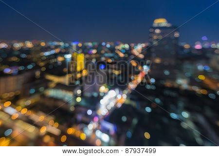 Abstract blur bokeh background of city aerial view