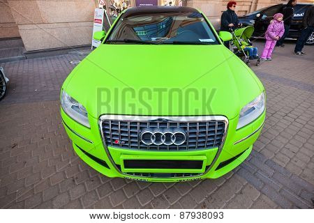 Bright Green Sporty Styled Audi S8 Car Stands Parked