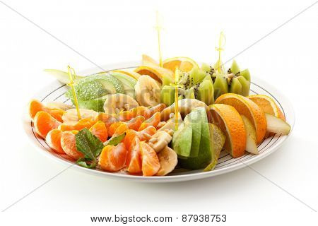 Tropical Fruit Dish over White