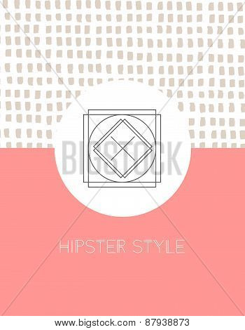 Vintage card, for invitation or announcement. Hipster style. Hand drawn background.