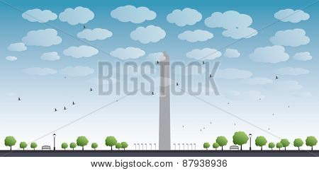 Washington Monument and cloud in blue sky Washington DC