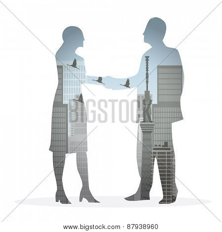 double exposure handshake businessman on city background