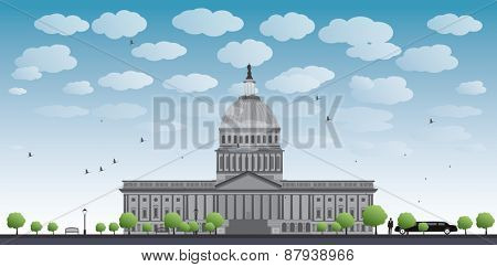 Washington DC Capitol landscape with cloud and blue sky, USA