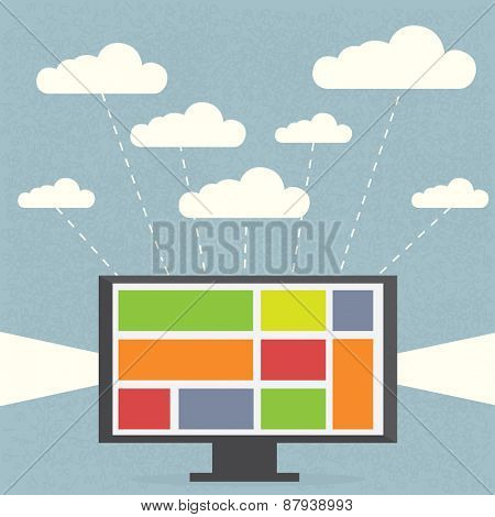 Monitor with clouds on blue background Concept showing that one user can use many cloud services