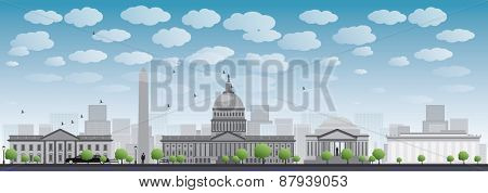 Washington DC city skyline. illustration with cloud and blue sky