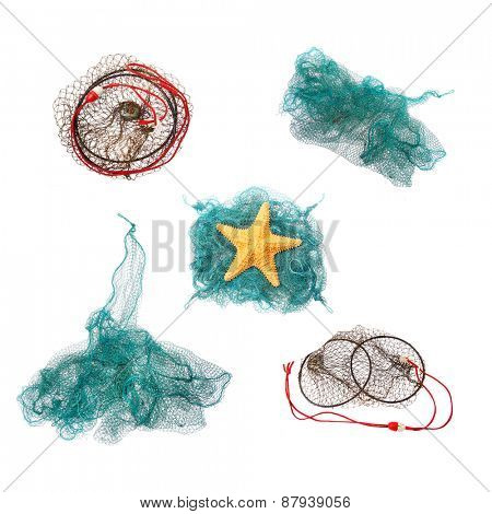 Collection of fishing net on a white background.