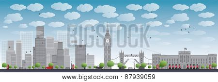London skyline with skyscrapers and clouds illustration