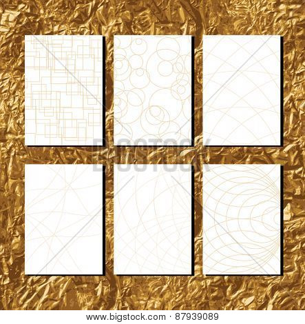 Golden Geometric Patterns with lines for business documents