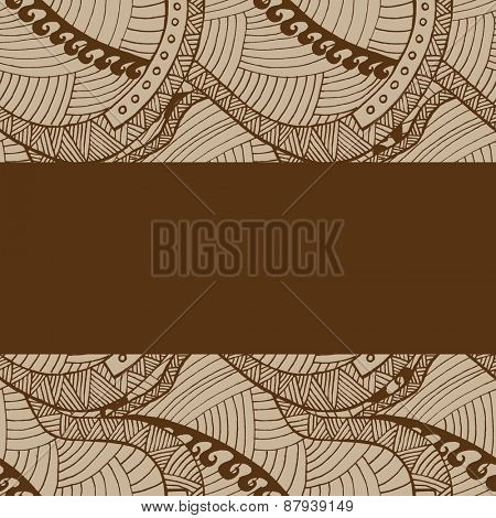 Vintage wave line and curl Hand-drawn abstract colorful pattern