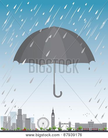 London under umbrella Travel concept