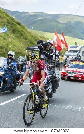 The Cyclist Rein Taaramae On Col De Peyresourde - Tour De France 2014