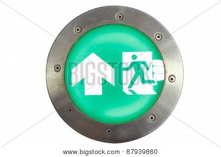 Isolated Exit Sign And Light To Emergency Door