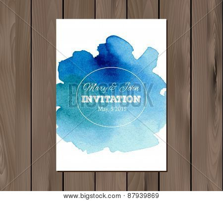 Vector wedding invitation with watercolor stain and typographic