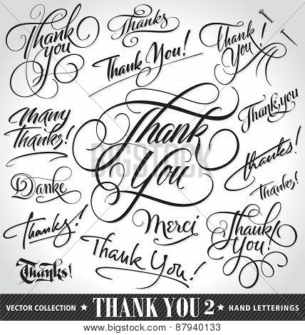 Set of custom THANK YOU hand lettering -- handmade calligraphy, vector (eps8)