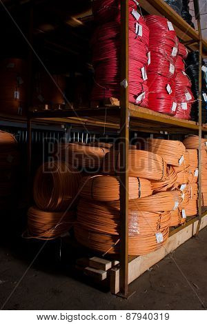 High and low voltage cables in the storage