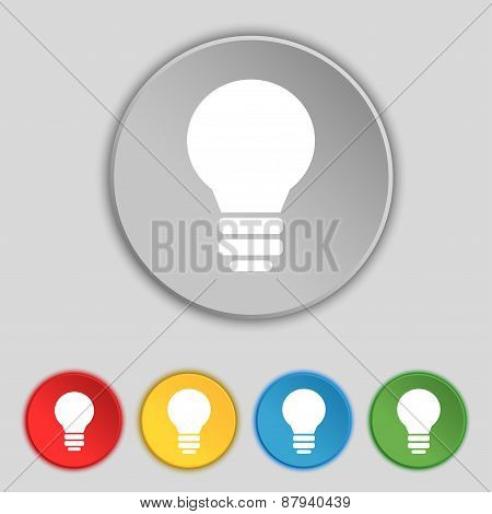 Light Lamp, Idea Icon Sign. Symbol On Five Flat Buttons. Vector