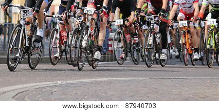 Vicenza, Vi, Italy - April 12, 2015: Cyclists Run On Racing Bikes During Cycle Road Race