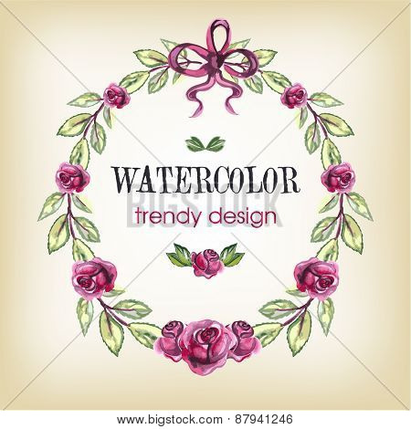Rose Wreath. Watercolor Floral Trendy Design with Copy Space for Text.