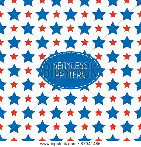 Geometric patriotic seamless pattern with red, white, blue stars. American symbols. USA flag. 4th of