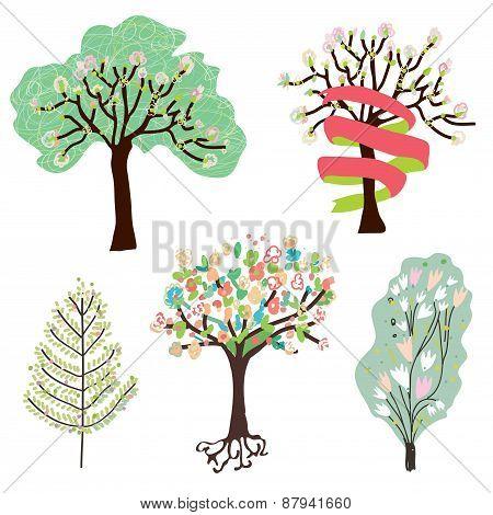 Set Of Spring Blossom Trees