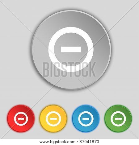 Minus, Negative, Zoom, Stop Icon Sign. Symbol On Five Flat Buttons. Vector