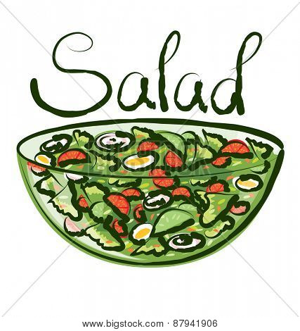 vector salad with calligraphic inscription