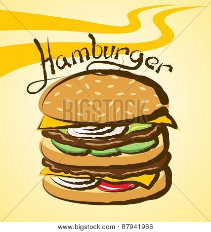 vector hamburger with calligraphic inscription