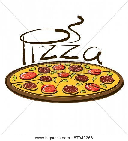 vector pizza with calligraphic inscription and aroma