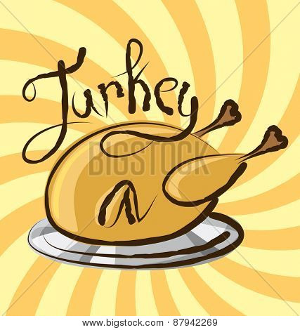 vector turkey with calligraphic inscription and aroma