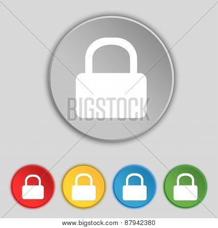 Pad Lock Icon Sign. Symbol On Five Flat Buttons. Vector